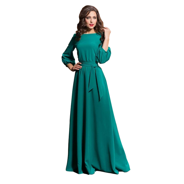 3/4 Sleeve O Neck Pockets Long Maxi Dress Ladies Elegant New Hot Women Fashion Solid Color Lantern Sleeve Party Dress With Belt