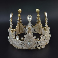 Handmade Baroque Queen King Bride Tiara Crown For Women Bridal Crystal Beaded Wedding Tiaras And Crowns