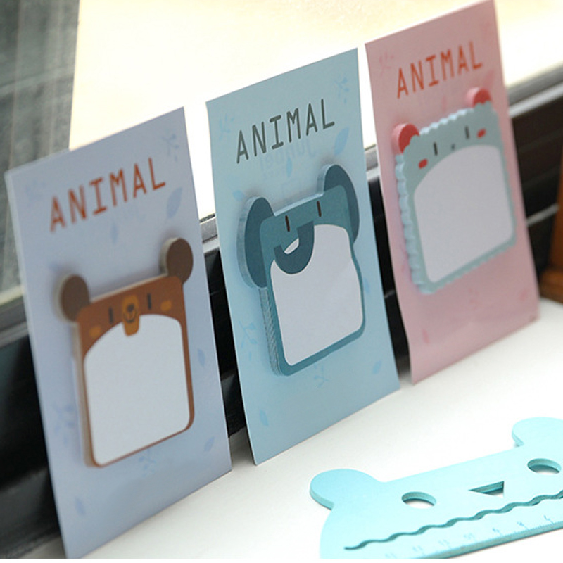 MEIKENG 4PCS 30Sheets Creative Animal Stickers Memo Pad Post it Note Pads Sticky Notes Office Supplies School Student Supplies
