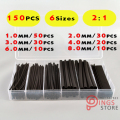 (150 PCS) 1MM 2MM 3MM 4MM 6MM 8MM Black Assortment Ratio 2:1 Polyolefin Heat Shrink Tube Tubing Sleeving Wrap Wire Cable Kit