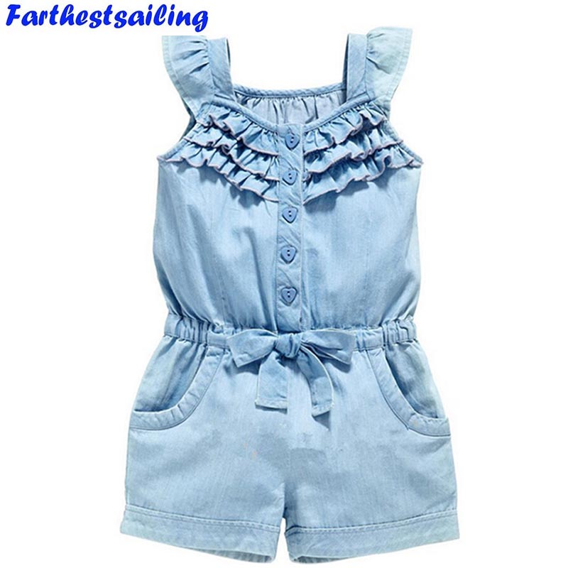 Girls Clothing Sets 2018 New Summer Children Rompers Baby Girl Denim Blue Cotton Washed Jeans Sleeveless Bow-Knot Kids Jumpsuit 2pcs children outfit clothes kids baby girl off shoulder cotton ruffled sleeve tops striped t shirt blue denim jeans sunsuit set