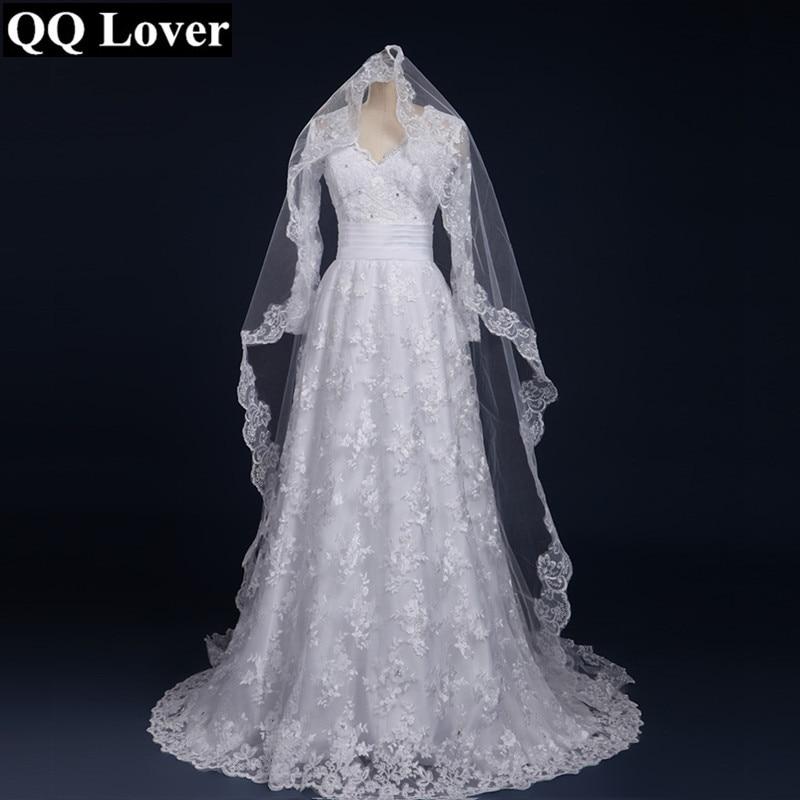 f552eace38 Qq lover 2017 nueva llegada de manga larga Vestidos de novia casan el  vestido nupcial por encargo Vestido de Noiva