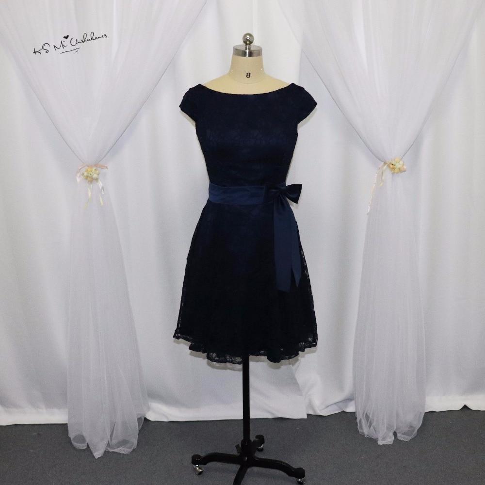 Cheap Navy Blue   Bridesmaid     Dress   Short Lace Wedding Guest   Dresses   Sash Cap Sleeve Above Knee V Back Vestido de Festa Curto