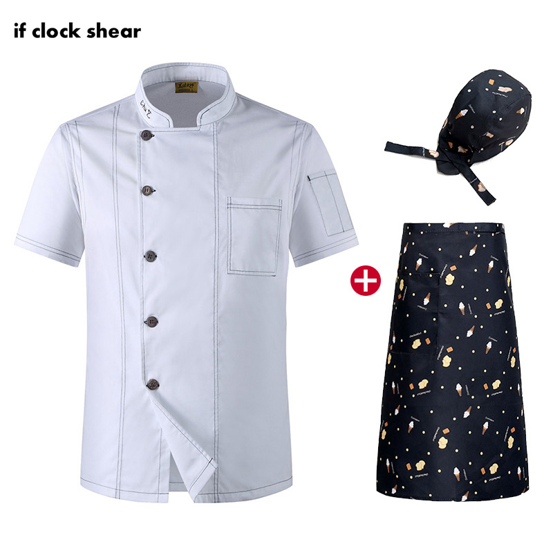 High Quality Kitchen Short Sleeve Chef Jacket Food Service Work Clothes Restaurant Hotel Chef Uniform Unisex Shirt Wholesale New