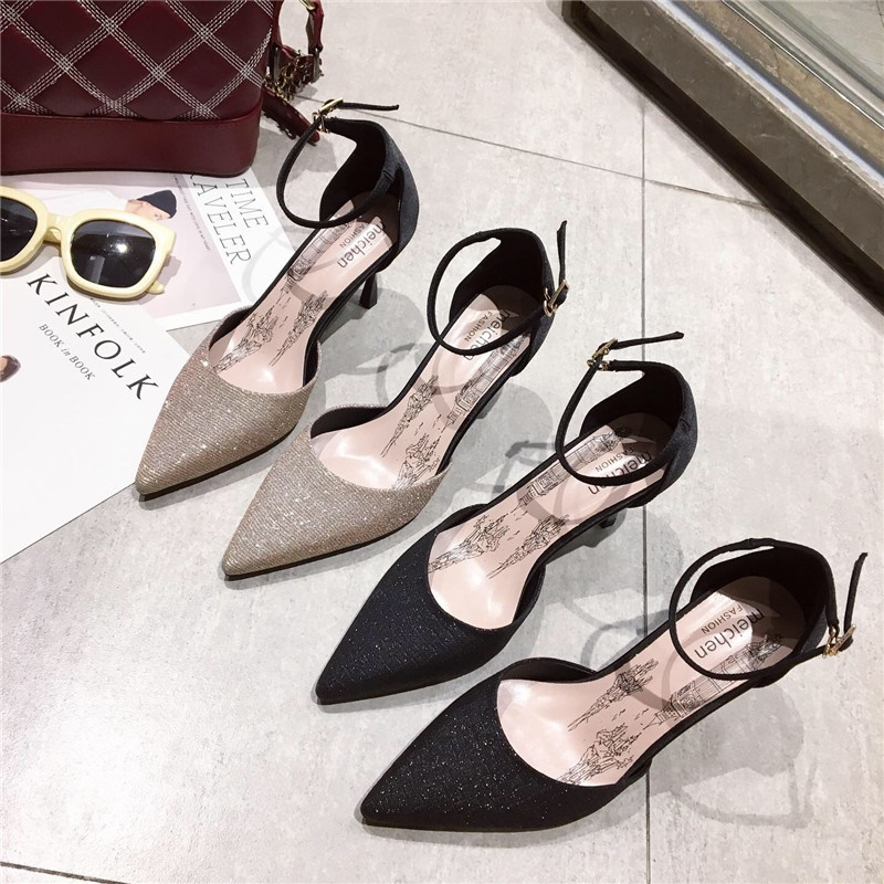 2019 spring and summer new hollow high-heeled sandals womens high-heeled pointed French girl toe shoes2019 spring and summer new hollow high-heeled sandals womens high-heeled pointed French girl toe shoes