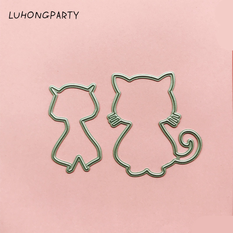 2pcs/set Lovely Cats metal die cutting dies scrapbooking embossing folder suit for sizzix fustella big shot cutting machine