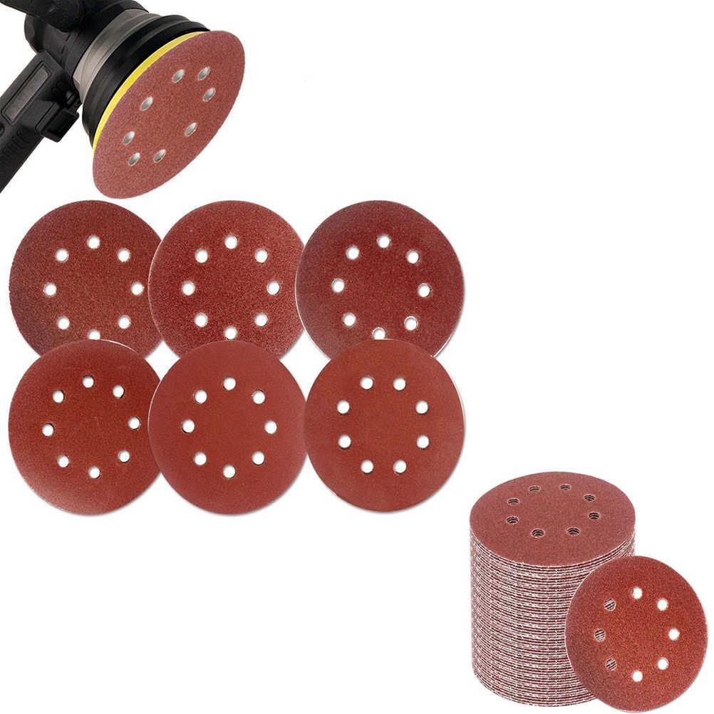 60 шт 5-дюймовый крюк и петля сетка наждачная бумага, 8 отверстий шлифование песком колодки дискового тормоза для 60/80/180/240/320