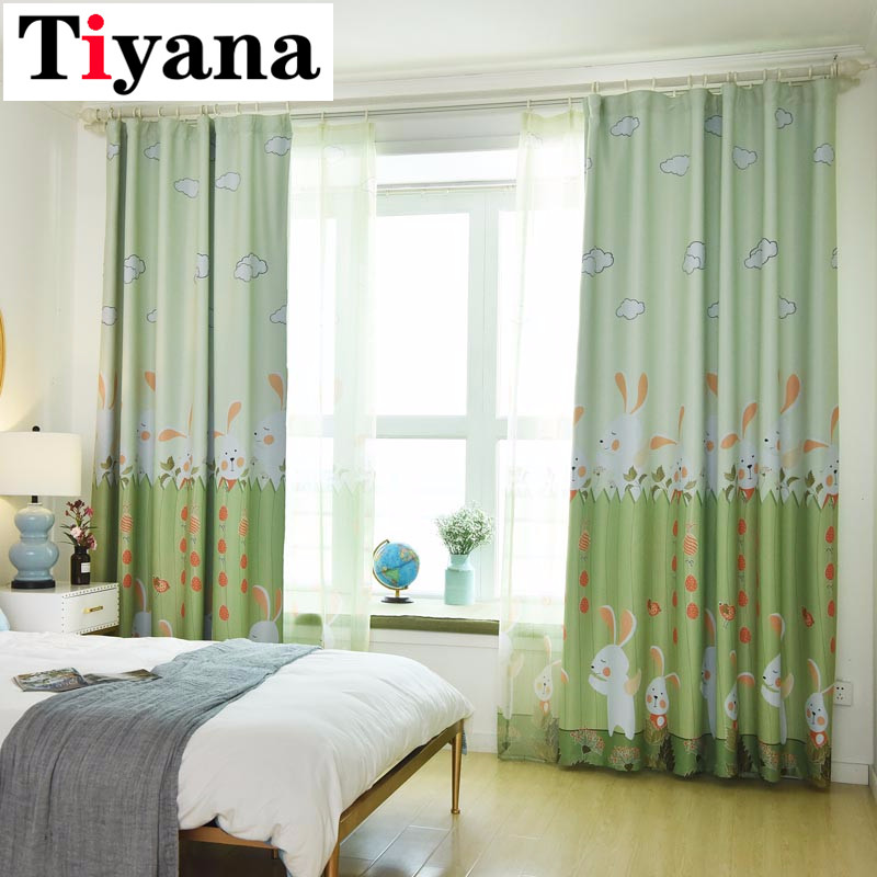 US $6.8 32% OFF|Cartoon Rabbit Room Darkening Green Curtains For Kids  Bedroom Living Room Pink Cortinas Cute Window Drapes For Baby Room  P116D3-in ...
