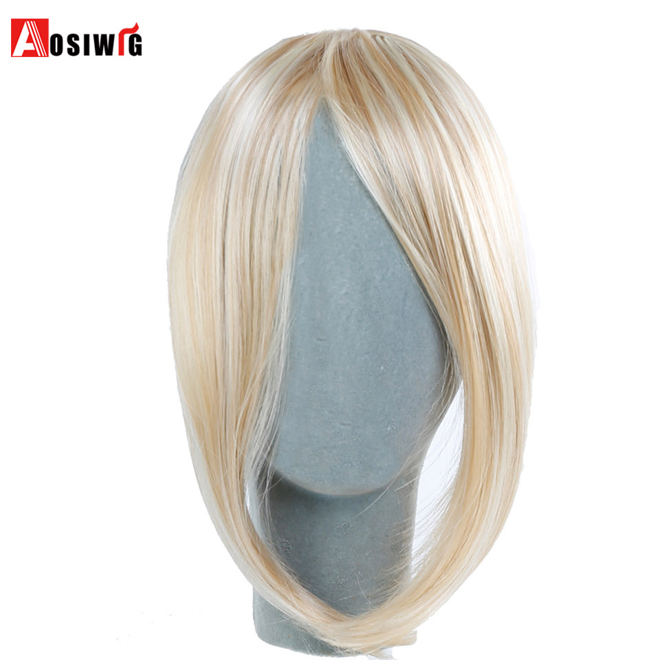 AOSIWIG Natural Straight Fiber Clip-in Middle Part Bangs Black/Light Brown/Dark Brown for Women Synthetic High Temperature