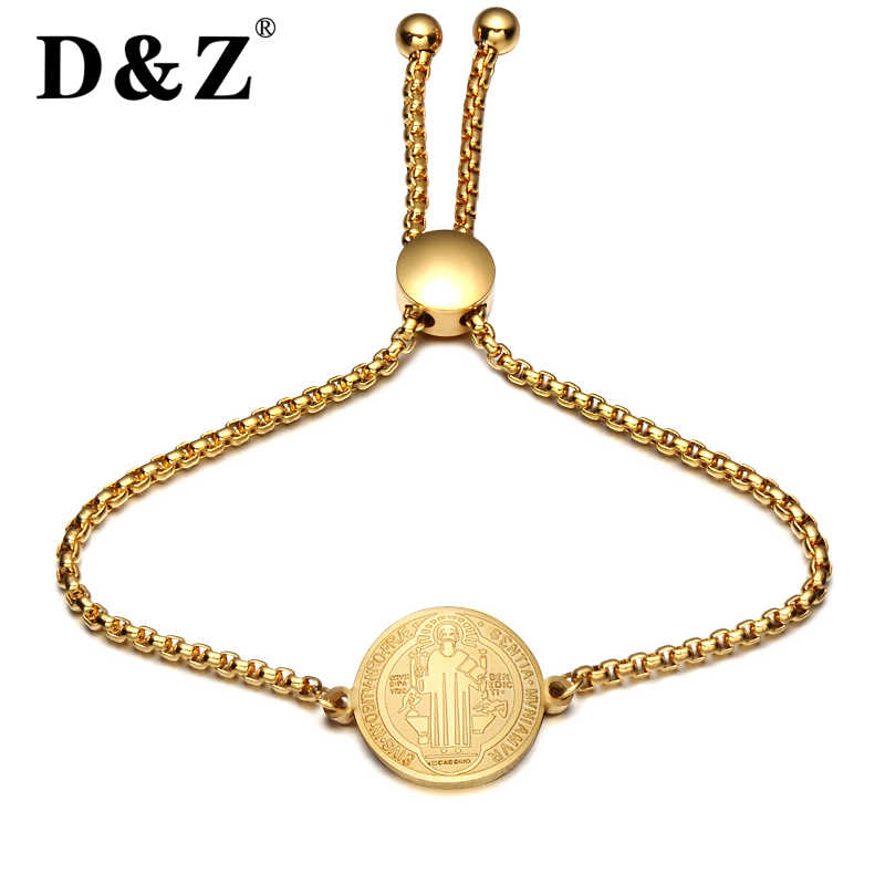 D&Z Religious Gold Jesus Bracelet Bangle Women Stainless Steel Crucifix Cross Charm Bracelets Bangles for Christian Jewelry Gift