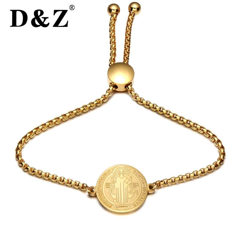 D&Z Religious Gold Jesus Bracelet Bangle Women Stainless Steel Crucifix Cross Charm Bracelets Bangles for Christian Jewelry Gift