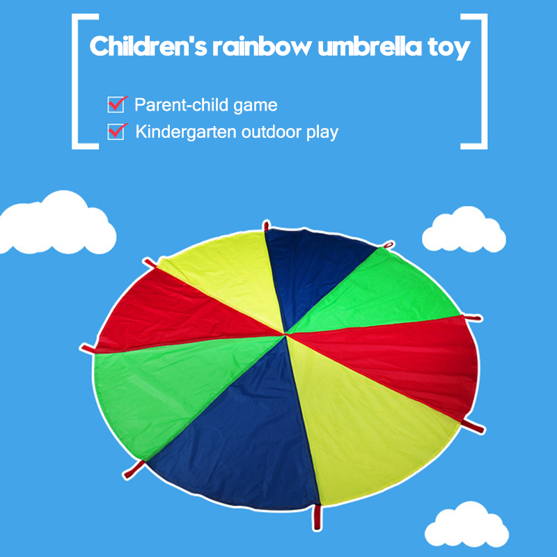 Kids Parachute Toy With Handles Play Parachute Tent Mat Cooperative Games Birthday Gift BDF99