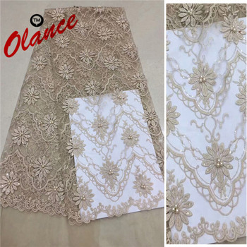 Hot sale simple and elegant style pattern with sequins and beads wedding dress fabric ADP69 French Tulle Lace Fabric
