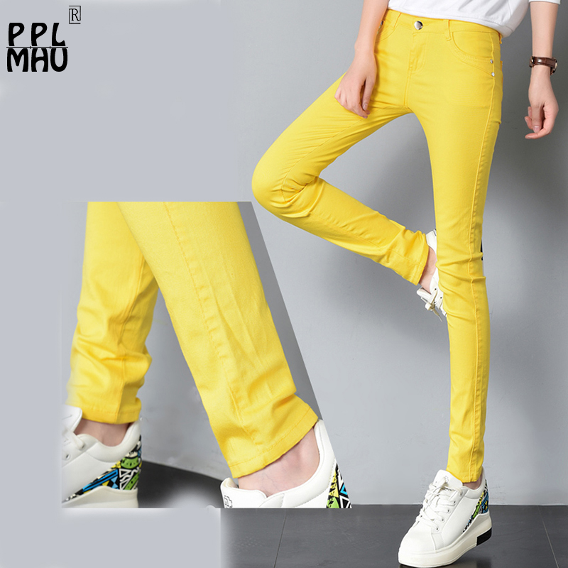 Spring sexy low rise waist denim trousers women Pure color cute Stretch   Jeans   female street wear washed denim skinny pencil pant