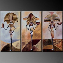 Handpainted Abstract Africa Women Figure Oil Paintings On Canvas Wall Art 3 Panel Painting
