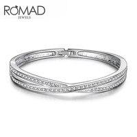 WD13 Charm Bangle For Women Rose Gold Bracelet Cross Shaped Zircon Rhinestones Fashion Jewelry For Vacation