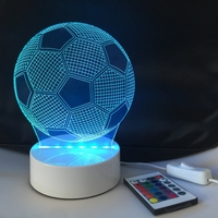 Iguardor 3D Soccer Optical Illusion Color Changing Rechargeable Touch LED Desk Table Night Light Lamp Decor Holiday Party Gifts