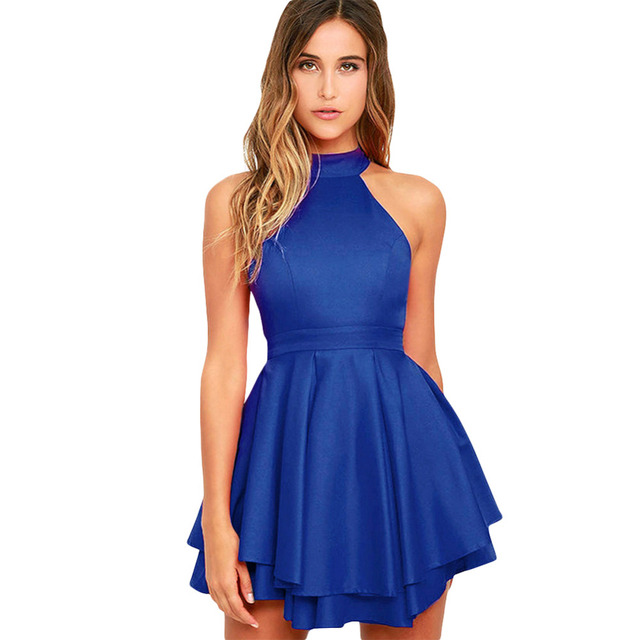 2018 New Y Women Skater Dress Halter Cutout Back High Neck Sleeveless Casual Las Party Mini