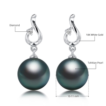 [Daimi] 10-11mm AAA Black Tahitian Pearl & 18k White Gold Diamond Earrings High Quality Brand Jewelry