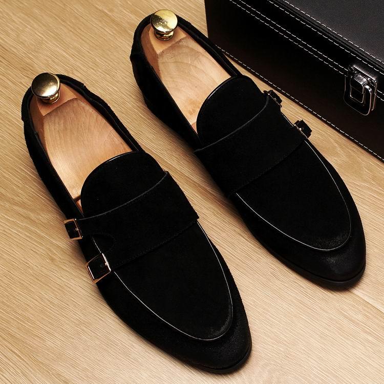 ERRFC ใหม่มาถึงแฟชั่นผู้ชายสีแดง Loafer รองเท้า Slip On Toe สีดำรองเท้าชายแบนหัวเข็มขัดสายคล้อง nubuck 38 43-ใน รองเท้าลำลองของผู้ชาย จาก รองเท้า บน   2
