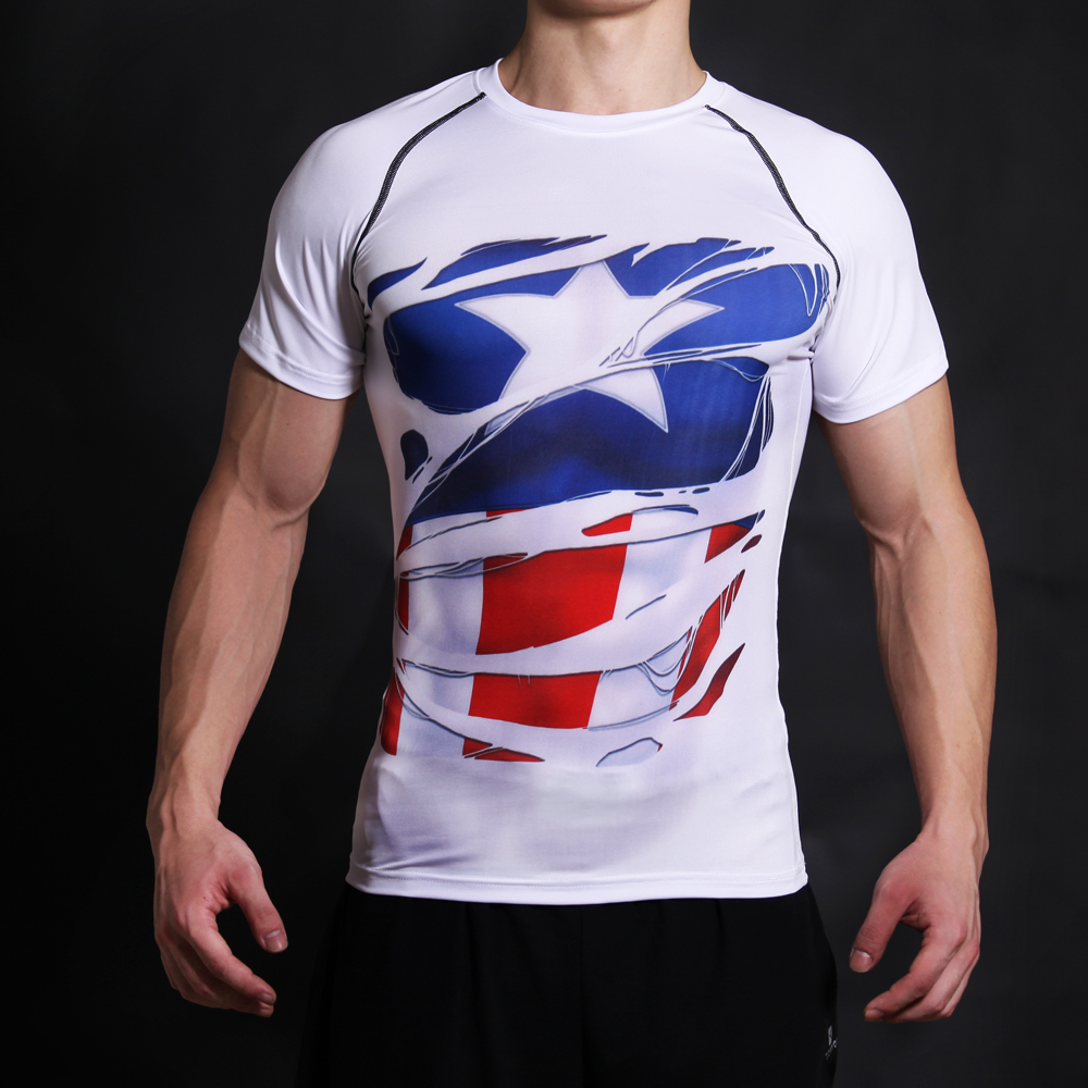 Captain America Civil War Shirt Tee 3D Printed T-shirts Men Fitness jogges Clothing Male ...
