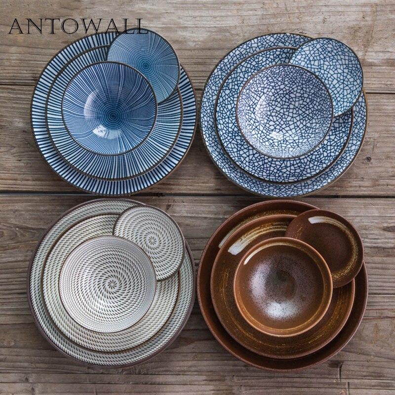 ANTOWALL service de vaisselle en céramique bleu | Ensemble de 7 pièces/ensemble de vaisselle de cuisine inclus, bols assiettes de vaisselle