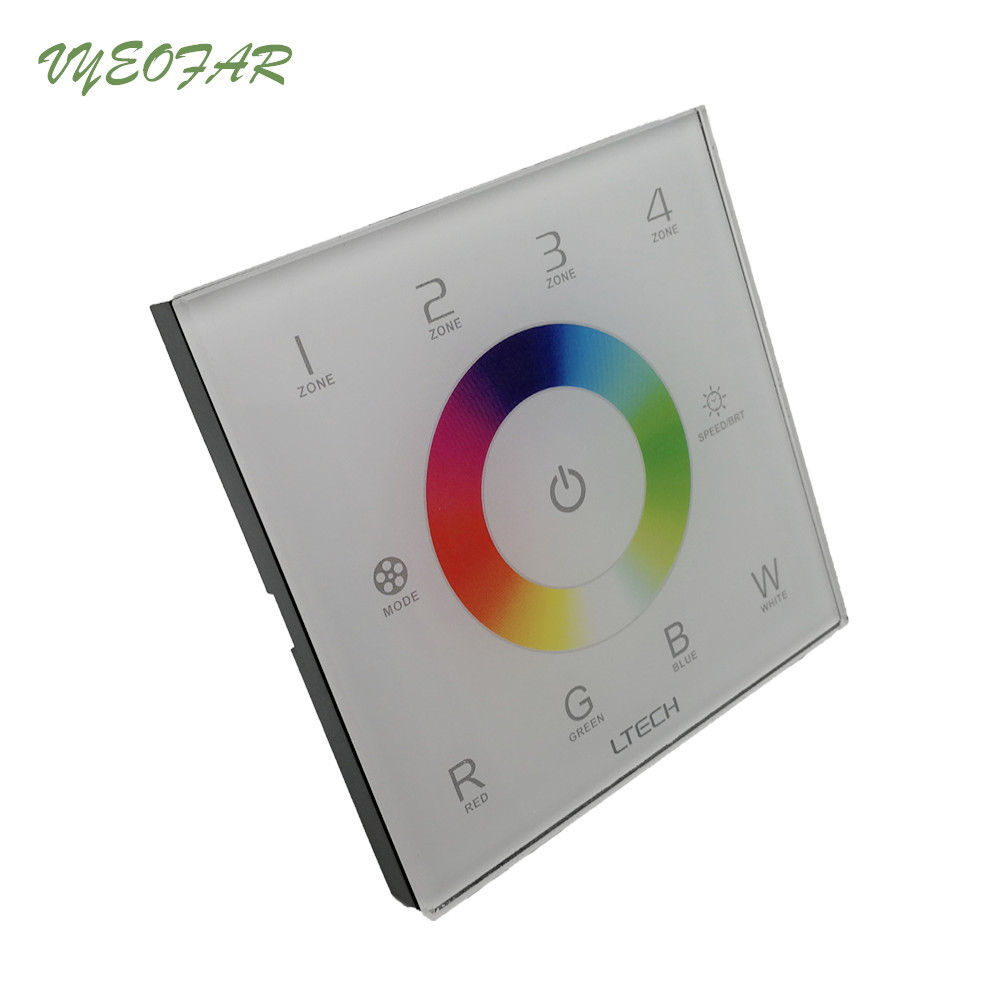 цена на Ltech RGBW Strip Controller touch panel led controller 4 Multi Zones RF 2.4G+DMX RGBW wall mount V8 Remote R4-5A R4-CC Receiver