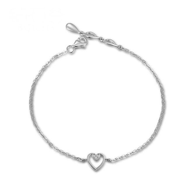 Diamond Heart Charm Bracelet for Women 18K White Gold 0.03ct Natural Diamond Jewelry Wedding Party Handmade