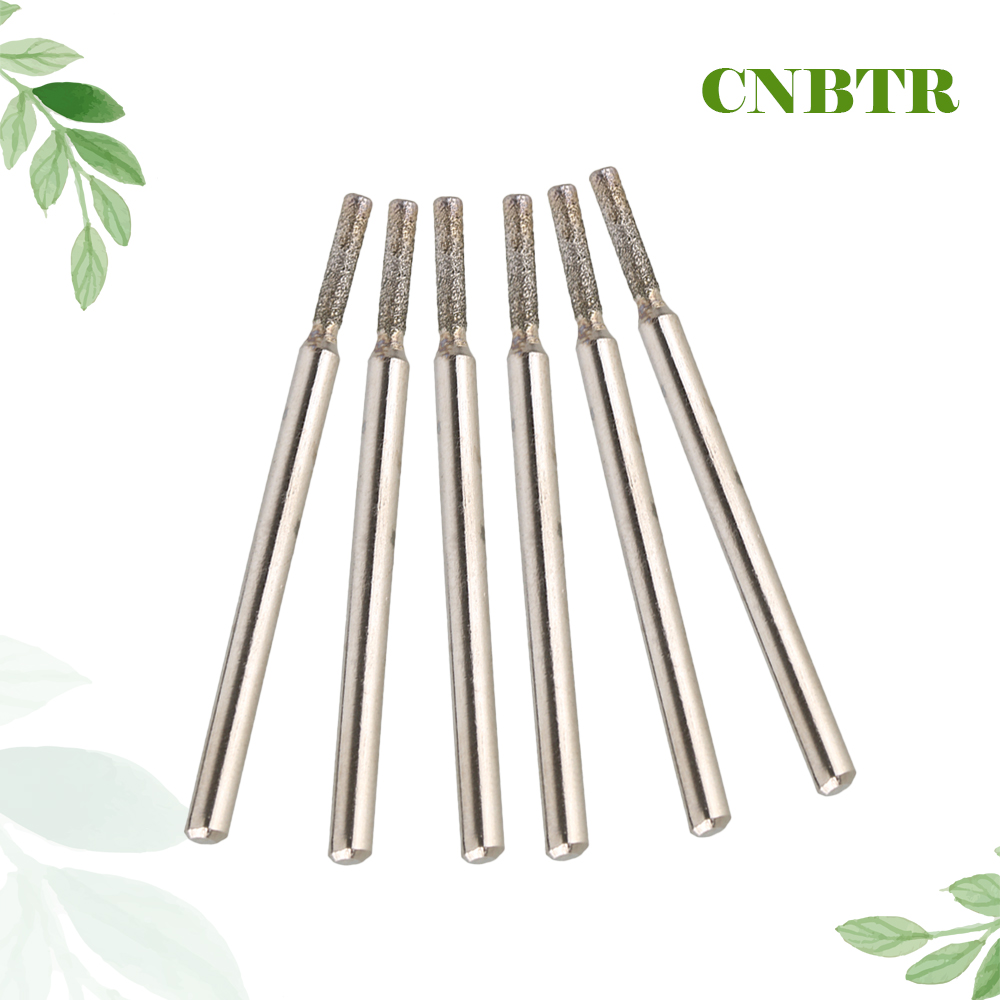 CNBTR Silver 3mm Shank 2mm Cylinder Point Diamond Coated Tipped Rotary Burr Glass Drill Bit Pack of 30 best promotion 10pcs set diamond holesaw 3 50mm drill bit set tile ceramic porcelain marble glass top quality