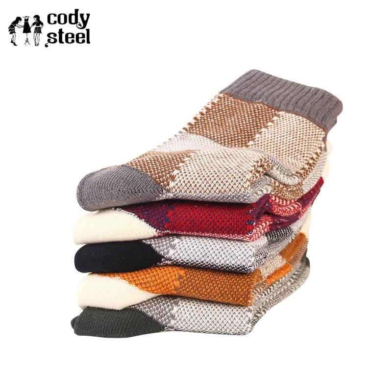 Cody Steel Colorful Mens Socks Brand Large Square Cotton Man Winter Socks Fashion National Wind Thick Men Socks 5pairs/lot