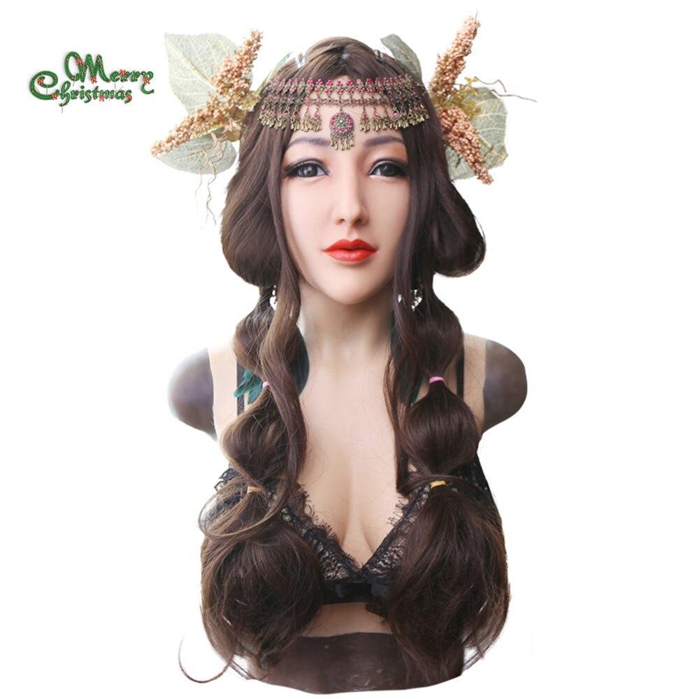 EYUNG déesse réaliste Alice visage féminin pour crossdresser Mascarade avec liquide silicone de remplissage D tasse plaque du sein faux seins