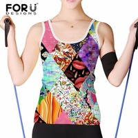 FORUDESIGNS Stylish 3D Geometric Triangles Print Vests For Ladies Sexy Sleeveless Tops Tee Shirt Women Cropped