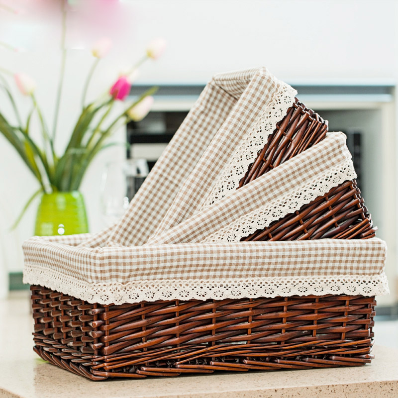 Willow Wicker Storage Basket With Liner For Home: Multicolor Hand Made Wicker Containing Rattan Willow