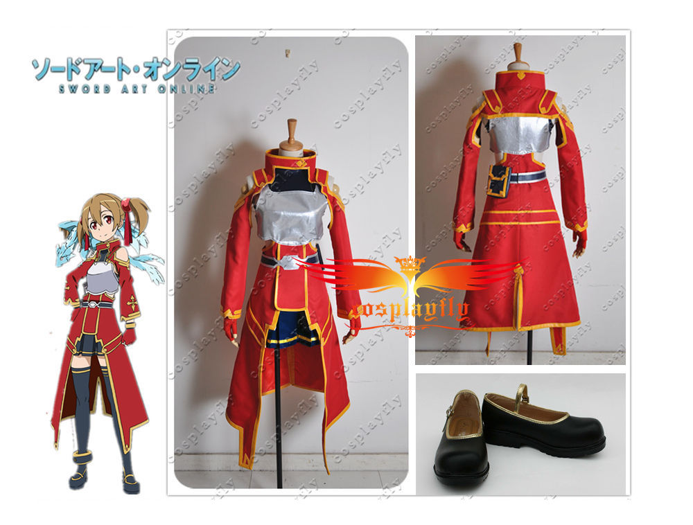 Sword Art Online Silica Keiko Ayano Cosplay Costume Shoe Boots Wig and Free Wig Cap Full set (W0092/J0016)
