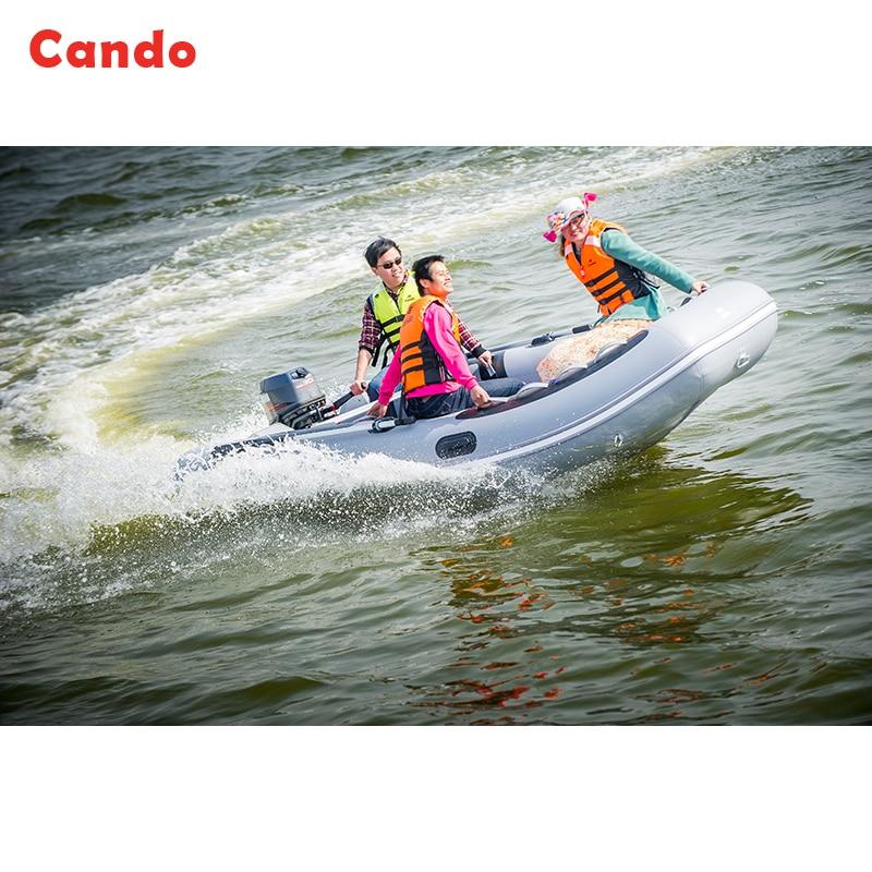 CANDO Bote inflable 4 a 6 personas Bote de asalto Fondo duro Barco de - Deportes acuáticos