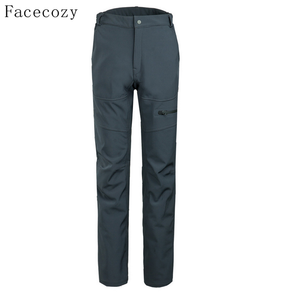 ФОТО Facecozy Men Winter Outdoor Breathable Solid Color Softshell Pants Windproof Inner Fleece Fishing Trouser