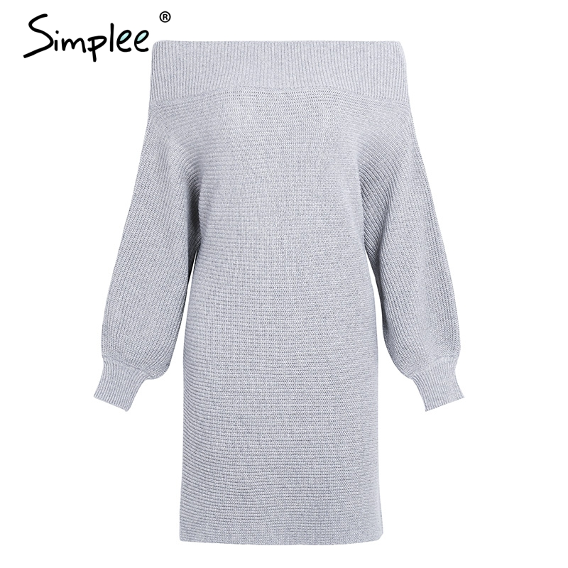 CUERLY Off shoulder long knitted sweater dress Women elegant loose winter pullover dress Autumn batw sleeve gray sweater jumper in Dresses from Women 39 s Clothing