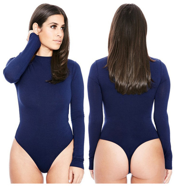 Sexy Romper Women Bodysuit Long Sleeve 2019 Spring New Solid Jumpsuits Club Wear O-Neck Sexy Bottoming Shirt Women Clothings 4