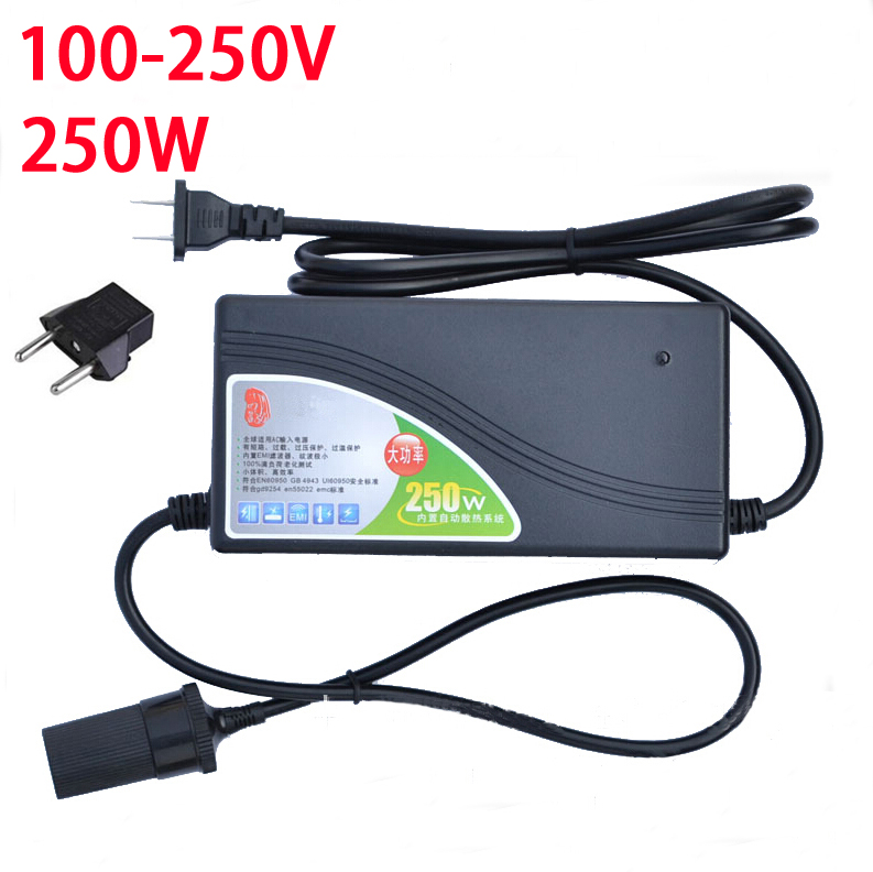 250W Power converter ac 220v(100~250v) input dc 12V 20A output adapter car power supply cigarette lighter plug цена