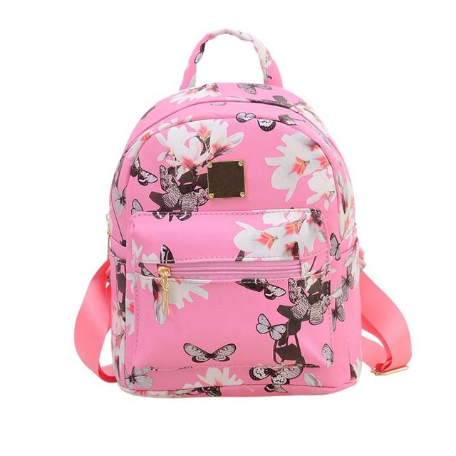 d874b602469f New Women Butterfly Flower Small Backpack Printed PU Leather Lady ...