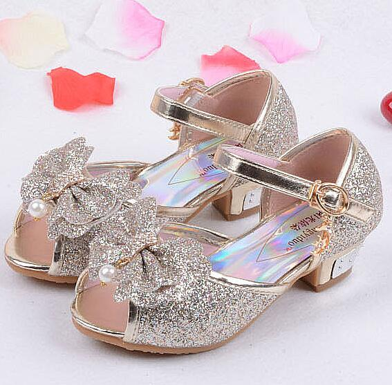 ed930911a711 2017 Children Princess Sandals Kids Girls Wedding Shoes High Heels Dress  Shoes Party Shoes For Girls Pink Blue Gold 26-37