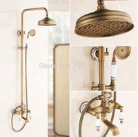 New 8 Antique Brass Shower Faucet White And Blue Porcelain Hand Unit Wall Mount