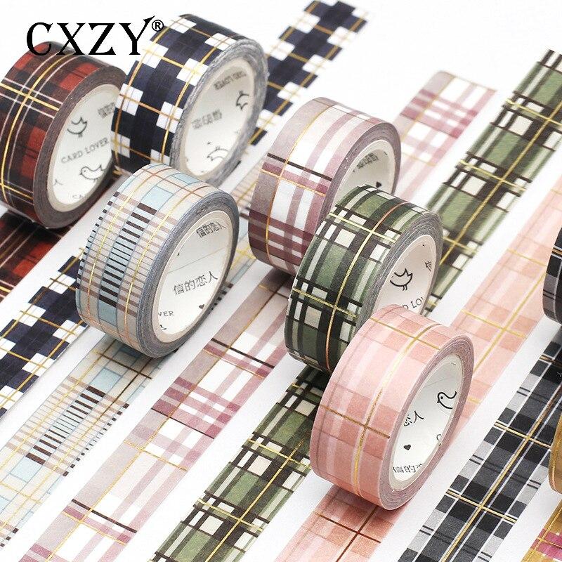 CXZY 5m Vintage Grid Gold Foil Washi Tape Decorative Masking Scrapbooking Bullet Journal Craft Washitape Adhesive Planner 1J817