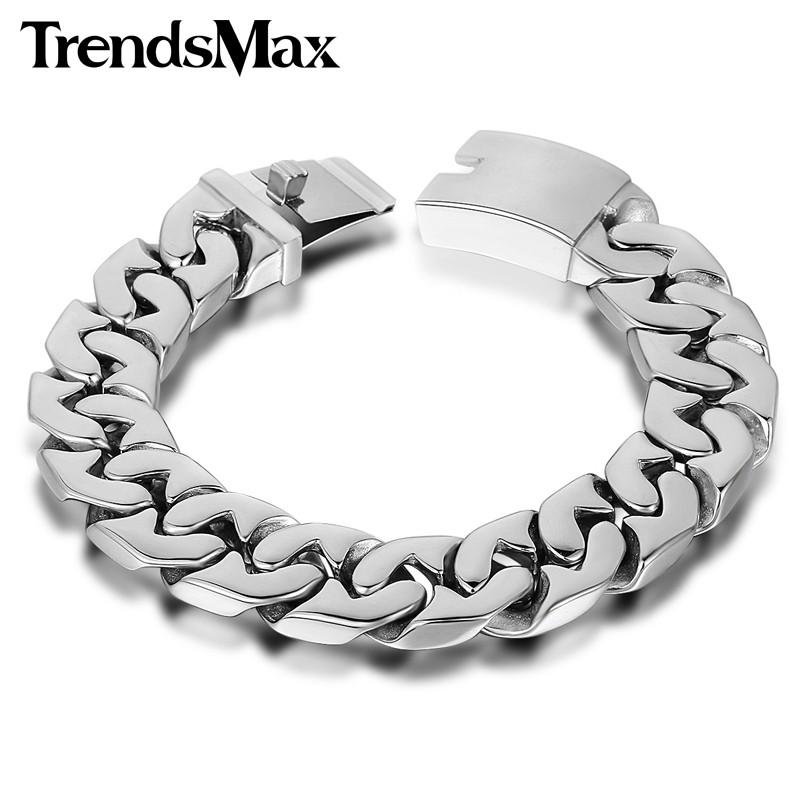 32e109d50df9 Trendsmax 24 31mm Wide Biker 316L Stainless Steel Heavy Curb Chain Bracelet  Mens Boys Chain Wholesale Jewelry HBM24USD 36.65-49.98 piece