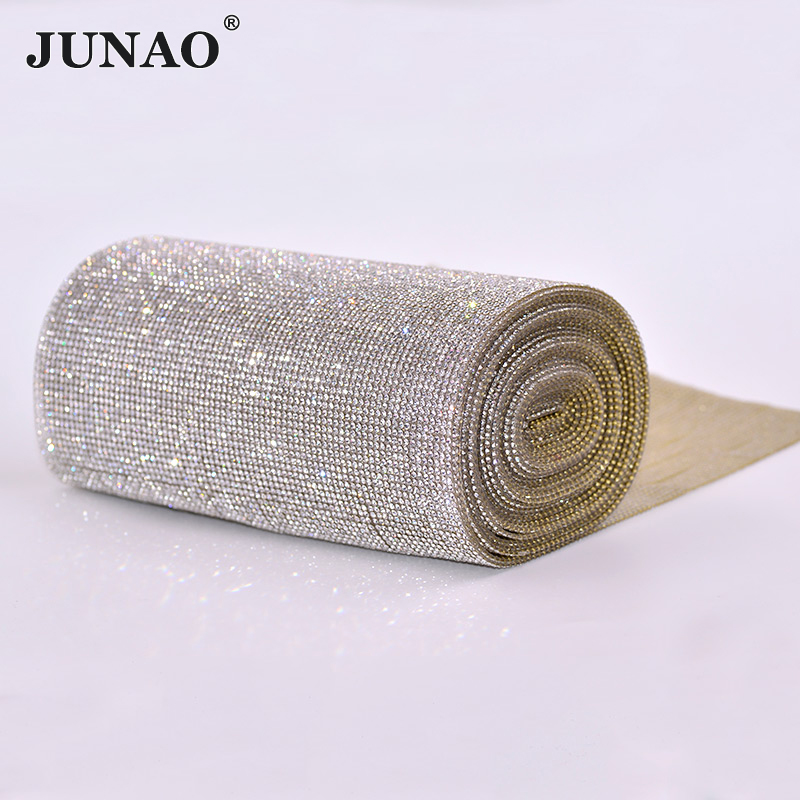 5 Yard 24cm Clear Rhinestones Chain Trim Bridal Applique Glass Strass Mesh Crystal Beads Banding For