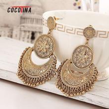 Hot Bohemia Tassel Earrings Retro Carved Earings Tassel Earrings For Women Metal Coin Bells Earrings Jewelry COCOTINA D02664