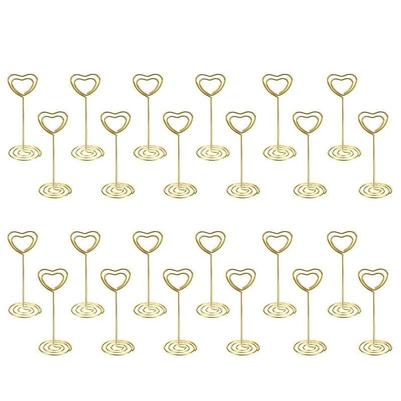 24 Pack Of Table Number Card Holders Photo Holder Stand Place Card Paper Menu Clips Holders, Gold Heart Shape