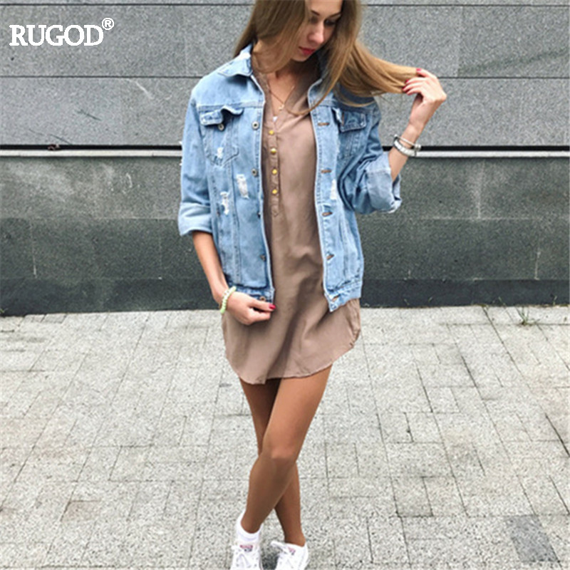 Rugod Women Basic Coats 2018 Spring Summer Ripped Denim Jacket Femme Vintage Long Sleeve Jeans Jacket Bomber Casual Coat 1