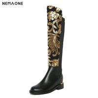 NemaoNe плюс Размеры Роскошная модельная обувь Для женщин Bling золотыми блестками сапоги до колена из натуральной кожи стрейч вечерние осенне з