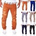НОВЫЙ мужской моды случайные разорвал брюки Отверстие дизайн брюки-карго мужчины двойной талии украшения комбинезоны брюки хип-хоп длинные брюки